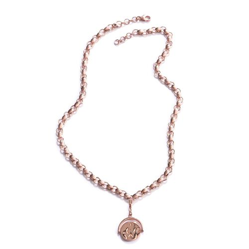 GP Kanchanaburi Blue Sapphire (Rnd) Coin Charm Necklace (Size 18) in Rose Gold Overlay Sterling Sterling Silver