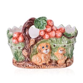 Home Decor - Ceramic Tree and Dogs Flower Pot (Size 19.5x15x11.5 Cm)