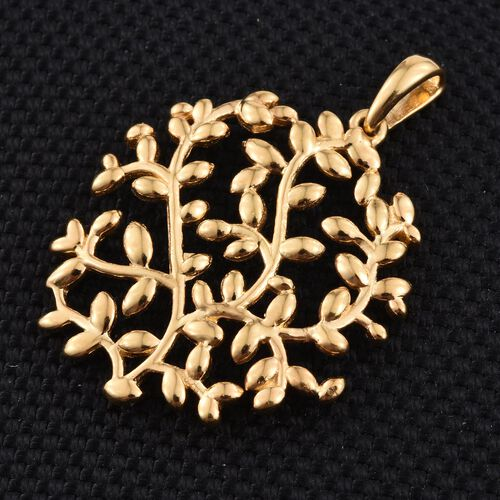 14K Gold Overlay Sterling Silver Olive Leaves Pendant, Silver wt 4.84 Gms.