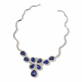 Simulated Blue Sapphire and White Austrian Crystal Necklace (Size 18 with 1 inch Extender) in Silver Tone