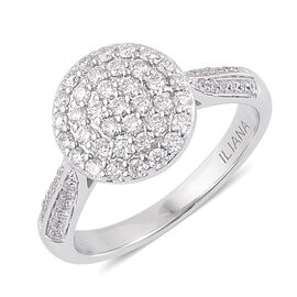 ILIANA 18K White Gold 0.50 Carat Diamond Cluster Engagement Ring IGI Certified SI G-H.