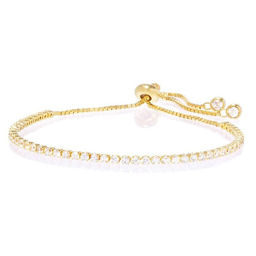 Close Out Deal AAA Simulated Diamond (Rnd) Adjustable Bracelet (Size 10) in Gold Bond