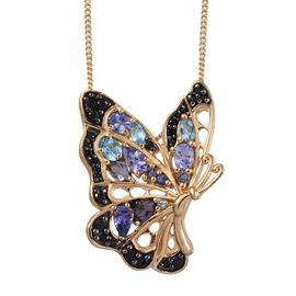 GP Tanzanite (Pear), Electric Swiss Blue Topaz, Iolite, Boi Ploi Black Spinel and Kanchanaburi Blue Sapphire Butterfly Pendant With Chain in 14K Gold Overlay Sterling Silver 2.250 Ct.