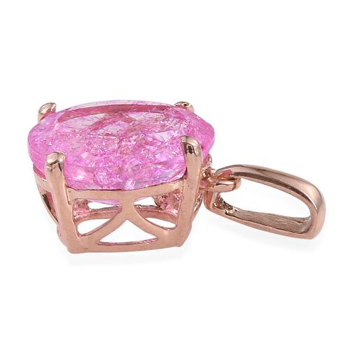 Hot Pink Crackled Quartz (Ovl) Solitaire Pendant in Rose Gold Overlay Sterling Silver 3.250 Ct.