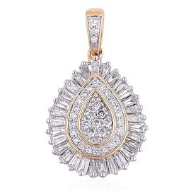 ILIANA 18K Yellow Gold 1 Carat Diamond Cluster Drop Pendant IGI Certified SI G-H.