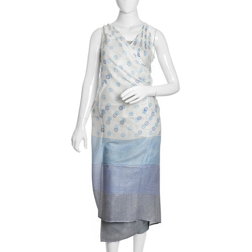 Blue, Black and White Colour Floral Pattern Sarong (Free Size)