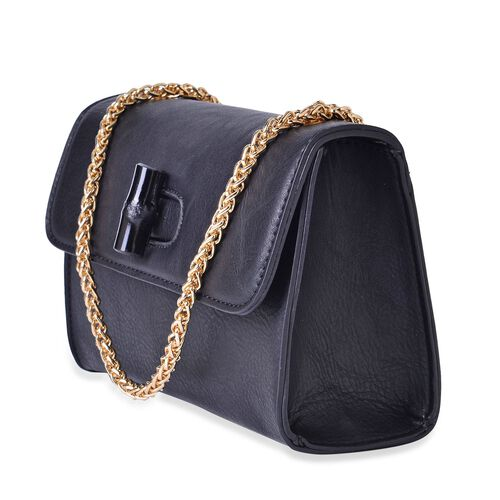 Black Colour Crossbody Bag with Chain Strap (Size 20x14x8 Cm)
