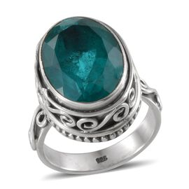 Jewels of India Capri Blue Quartz (Ovl) Solitaire Ring in Sterling Silver 13.230 Ct.