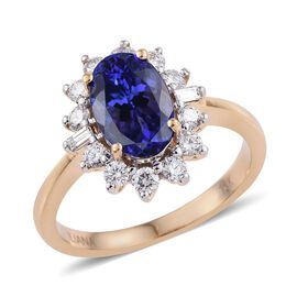 ILIANA 18K Yellow Gold 3 Carat AAA Tanzanite Oval, Diamond SI G-H Ring.