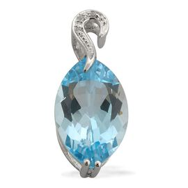 9K W Gold Sky Blue Topaz (Mrq 5.50 Ct), Simulated White Diamond Pendant 5.526 Ct.
