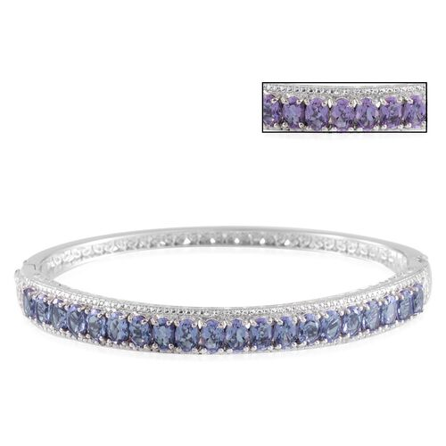 Lavender Alexite (Ovl), Diamond Bangle in Platinum Overlay Sterling Silver (Size 7.5) 11.050 Ct.