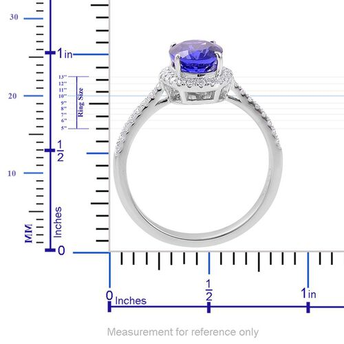 ILIANA 18K White Gold 2.15 Carat AAA Tanzanite Engagement Ring with Diamond SI G-H.