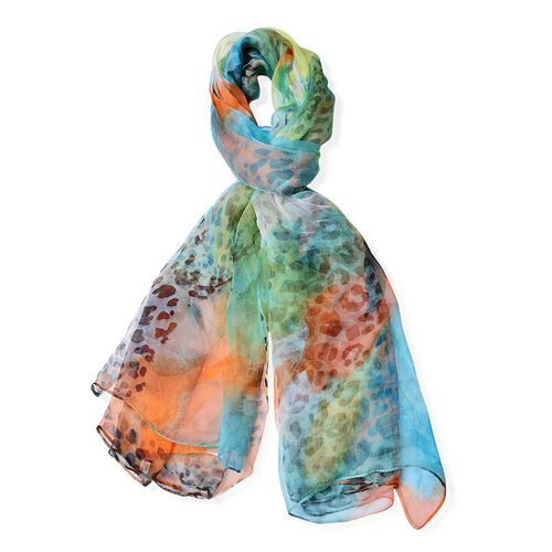 40% Mulberry Silk Orange, Blue and Multi Colour Leopard Pattern Scarf (Size 170X105 Cm)