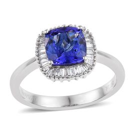 RHAPSODY 950 Platinum AAAA Tanzanite (Cush 2.15 Ct), Diamond Ring 2.500 Ct.