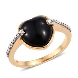 Black Onyx (Hrt) Solitaire Ring in 14K Gold Overlay Sterling Silver 2.750 Ct.