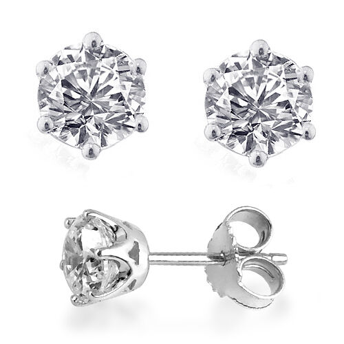 J Francis- Platinum Overlay Sterling Silver (Rnd) Stud Earrings Made With SWAROVSKI ZIRCONIA 1.68 Ct.