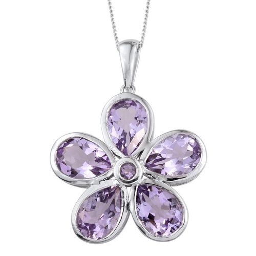 Rose De France Amethyst (Pear) 5 Stone Floral Pendant With Chain in Platinum Overlay Sterling Silver 7.750 Ct.