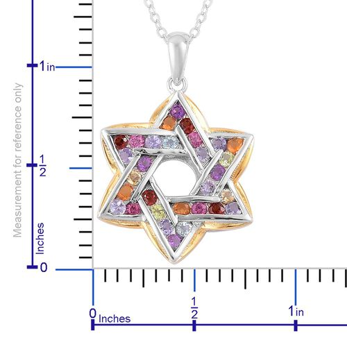Tanzanite (Rnd), Swiss Blue Topaz, Hebei Peridot, Rhodolite Garnet, Iolite, Amethyst and Multi GemStone Star Pendant with Chain in Rhodium and Yellow Gold Overlay Sterling Silver 1.180 Ct.