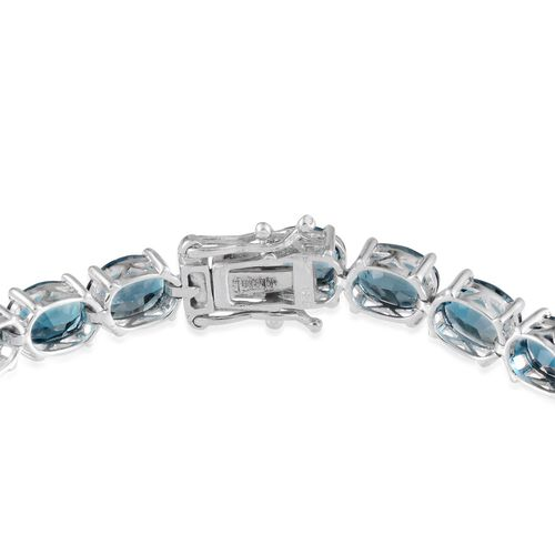 London Blue Topaz (Ovl) Bracelet in Platinum Overlay Sterling Silver (Size 8.0) 31.750 Ct.