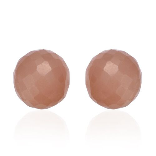 Peach Moonstone Ball Stud Earrings (with Push Back) in Rose Gold Overlay Sterling Silver 7.000 Ct.