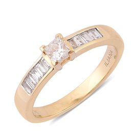 ILIANA 18K Yellow Gold 0.50 Carat Diamond Princess Solitaire Engagement Ring IGI Certified SI G-H.