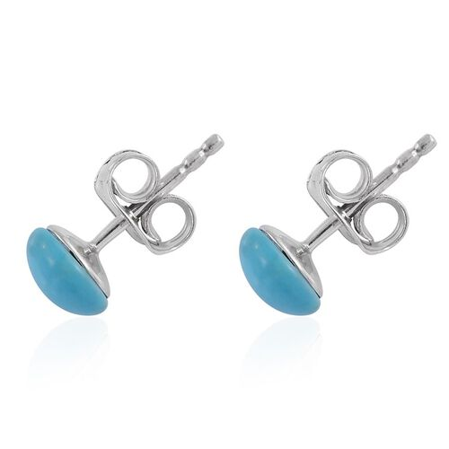 9K W Gold AAA Arizona Sleeping Beauty Turquoise (Rnd) Stud Earrings (with Push Back) 1.50 Ct.