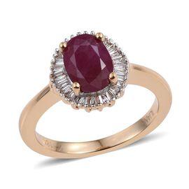 ILIANA 18K Y Gold Burmese Ruby (Ovl 1.60 Ct), Diamond Ring 1.750 Ct.