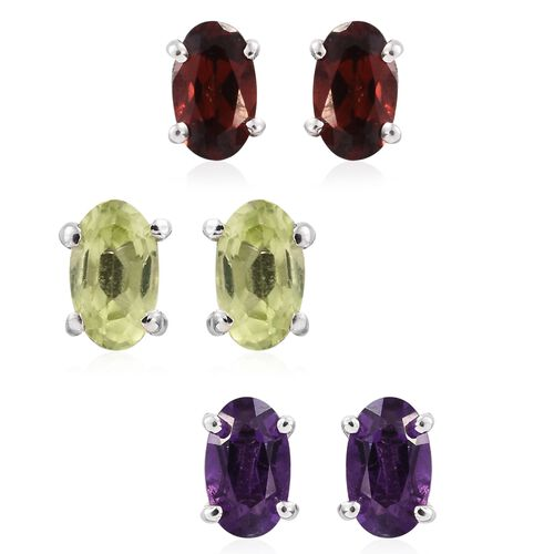 Set of 3 - Garnet, Peridot and Amethyst 1.25 Ct Silver Solitaire Stud Earrings in Platinum Overlay
