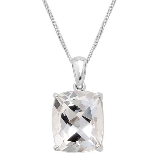 Golconda Diamond Topaz (Cush) Solitaire Pendant With Chain in Platinum Overlay Sterling Silver 6.25 Ct.