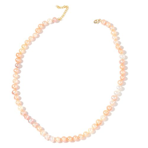 9K Y Gold AAA Fresh Water Multi Colour Pearl Necklace (Size 18)