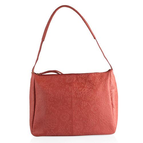 Genuine Leather RFID Blocker Flower Pattern Red Colour Handbag with External Zipper Pocket (Size 36X28X16 Cm)