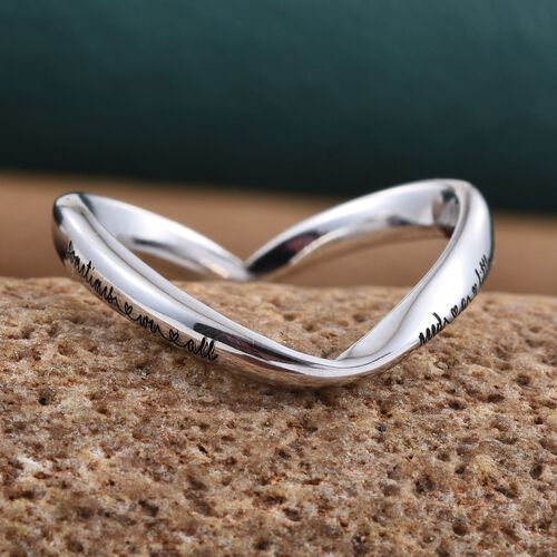 Kimberley  A Wish From Me Collection Platinum Overlay Sterling Silver Wishbone Ring, Silver wt 2.96 Gms.