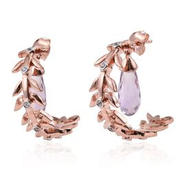 Kimberley Wild at Heart Collection Rose De France Amethyst and Natural Cambodian Zircon Earrings (with Push Back) in Rose Gold Overlay Sterling Silver 8.250 Ct.