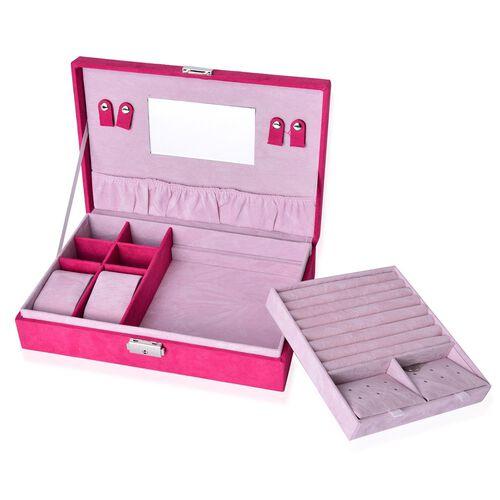 Pink Colour Velvet Jewellery Box (Size 28x19x6.5 Cm)