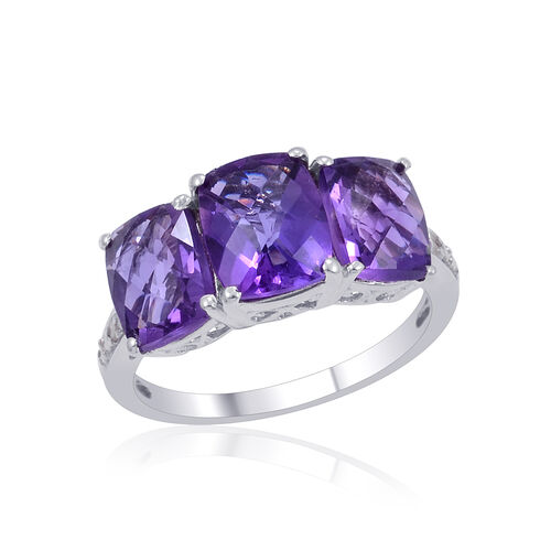 Zambian Amethyst (Cush 1.75 Ct), Diamond Ring in Platinum Overlay Sterling Silver 4.520 Ct.