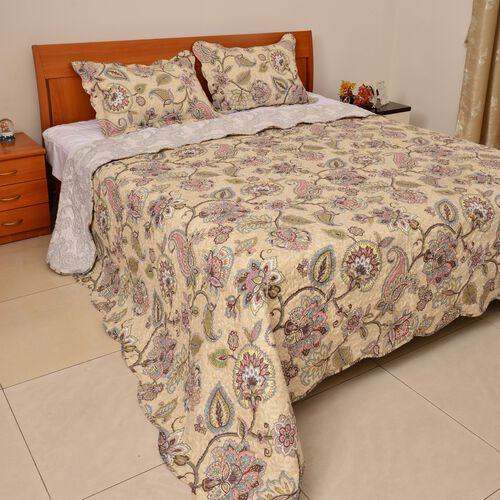 Red, Green, White and Multi Colour Floral, Leaves and Paisley Printed Cream Colour Quilt (Size 260x240 Cm) and 2 Pillow-Shams (Size 70x50 Cm)