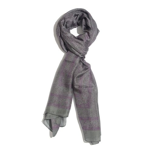 100% Mulberry Silk Purple Colour Printed Grey Colour Scarf (Size 180x100 Cm)