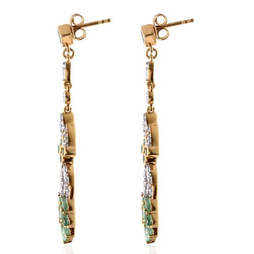 Kagem Zambian Emerald (Sqr), White Topaz Earrings (with Push Back) in 14K Gold Overlay Sterling Silver 2.000 Ct.