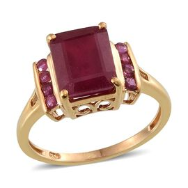 African Ruby (Oct 6.40 Ct), Burmese Ruby Ring in 14K Gold Overlay Sterling Silver 6.750 Ct.