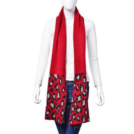 Black and Grey Colour Leopard Pattern Red Colour Scarf (Size 180x40 Cm)