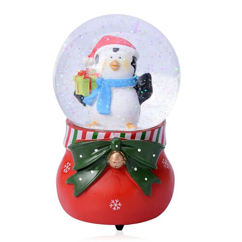 (Option 2) Home Decor - Penguin with Red Scarf Glitter Musical Globe with Red Poinsettia and White Snowflake Base