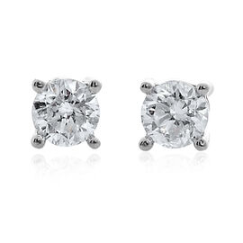 14K W Gold SGL Certified Diamond (Rnd) (I2/ G-H) Stud Earrings (with Screw Back) 0.500 Ct.