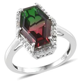 Tourmaline Colour Quartz and Diamond Ring in Platinum Overlay Sterling Silver 5.020 Ct.