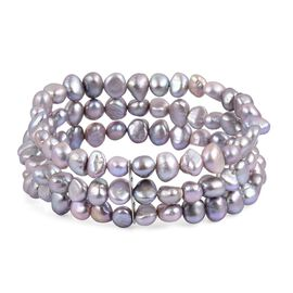 Double Shine - Fresh Water Silver Grey Pearl Multi Strand Stretchable Bracelet (Size 7.5) in Stainless Steel