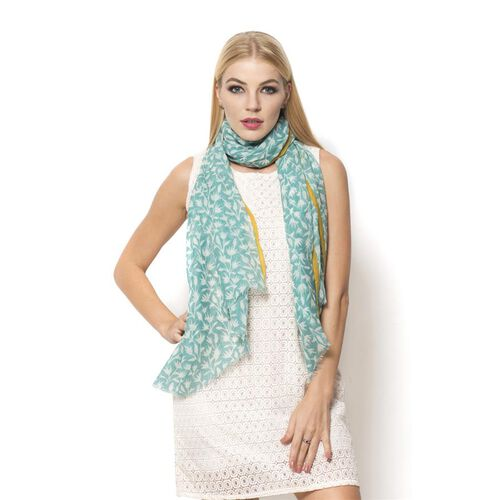 100% Wool  Turquoise and Yellow Colour Hand Block Printed Scarf (Size 190x75 Cm)