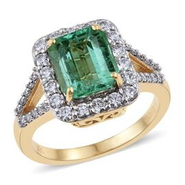 ILIANA 18K Y Gold Boyaca Colombian Emerald (Oct 2.50 Ct), Diamond (SI/G-H) Ring 3.250 Ct.