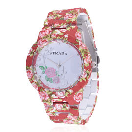 STRADA Japanese Movement Rose Pattern White Dial with White Austrian Crystal Water Resistant Watch in Silver Tone with Flower Pattern Coral Colour Strap