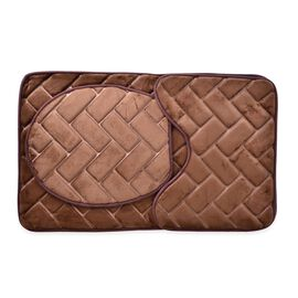 Set of 3- Chocolate Colour Check Pattern Bath Mat with Sponge Filling (Size 80x50, 44x38 and 40x38 Cm)