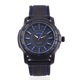 STRADA Japanese Movement Black Colour with Blue Marks Dial Water Resistant Watch in Black Tone with Stainless Steel Back and Black Colour Rubber Strap