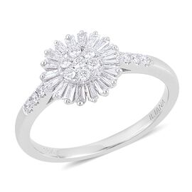 ILIANA 18K White Gold 0.50 Carat Diamond Cluster Flower Ring IGI Certified SI G-H.